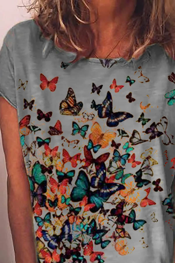 Colorful Butterfly Print Short Sleeves Casual T-shirt