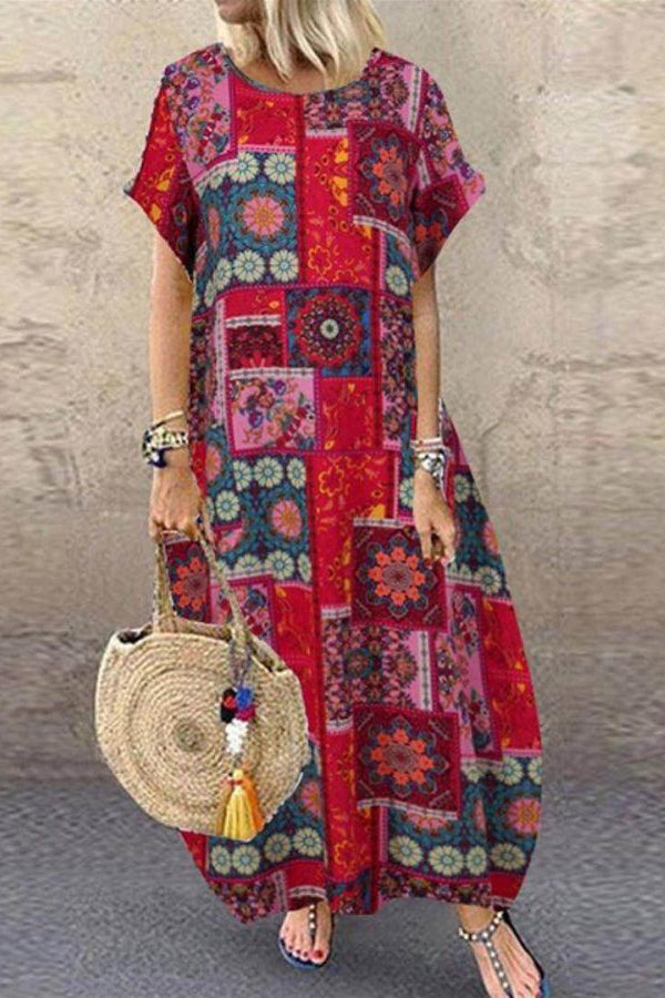 Vintage Plaid Floral Print Paneled Color-block Lantern Maxi Dress
