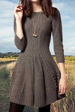 Elegant Sheath Pleated Ribbed Knitted A-line Sweater Dress