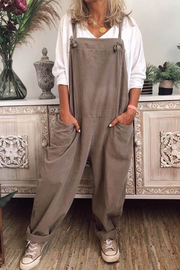 Solid Spaghetti Casual Paneled Side Pockets Jumpsuit
