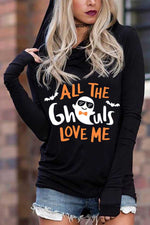 Halloween Cartoon Pumpkin Skull Ghost Bat Letter Print Hoodie