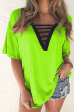 Paneled Hollow Out Solid Plunging Neck Short Sleeves T-shirt