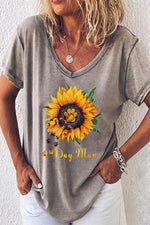 Sunflower Print Paneled V-neck Casual T-shirt