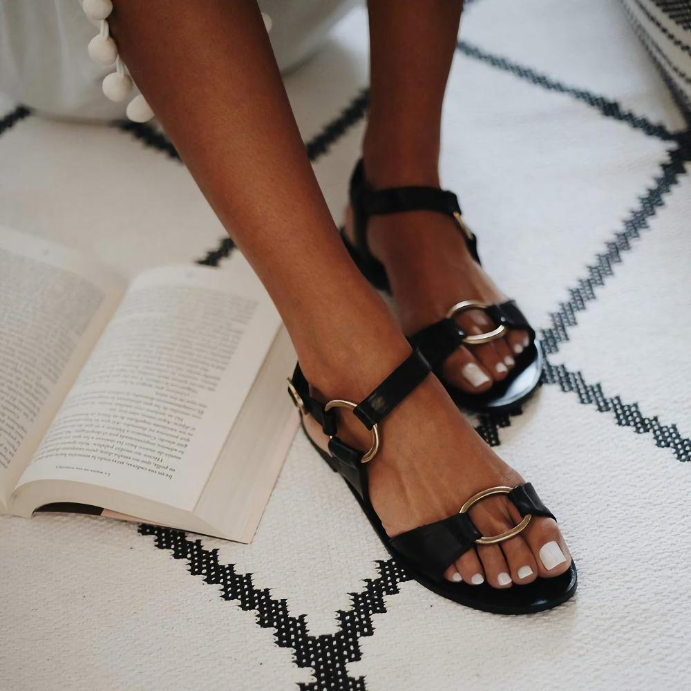 Solid Belt Buckle Open Toe Flat Heel Sandals