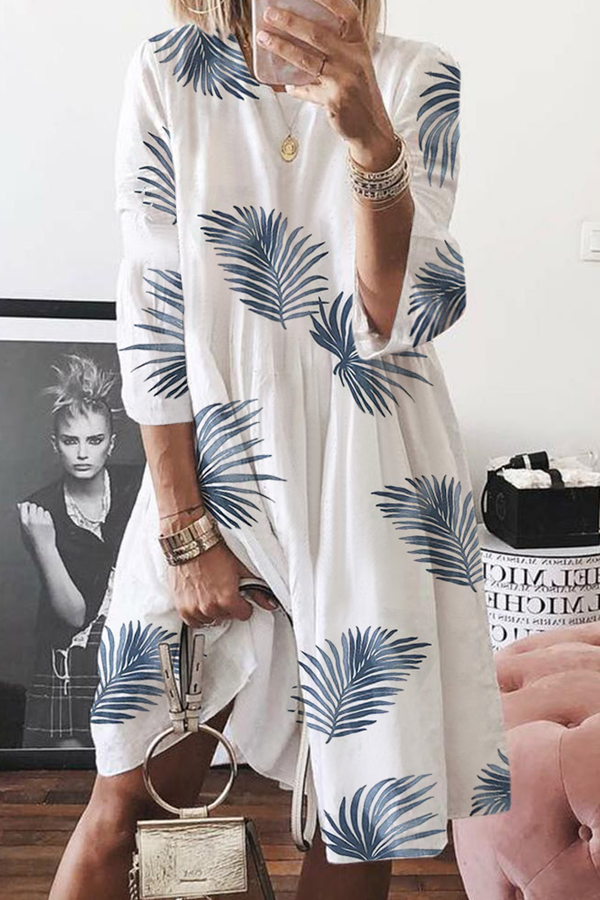 Leaf Print Crew Neck 3/4 Sleeves Loose Midi Dress