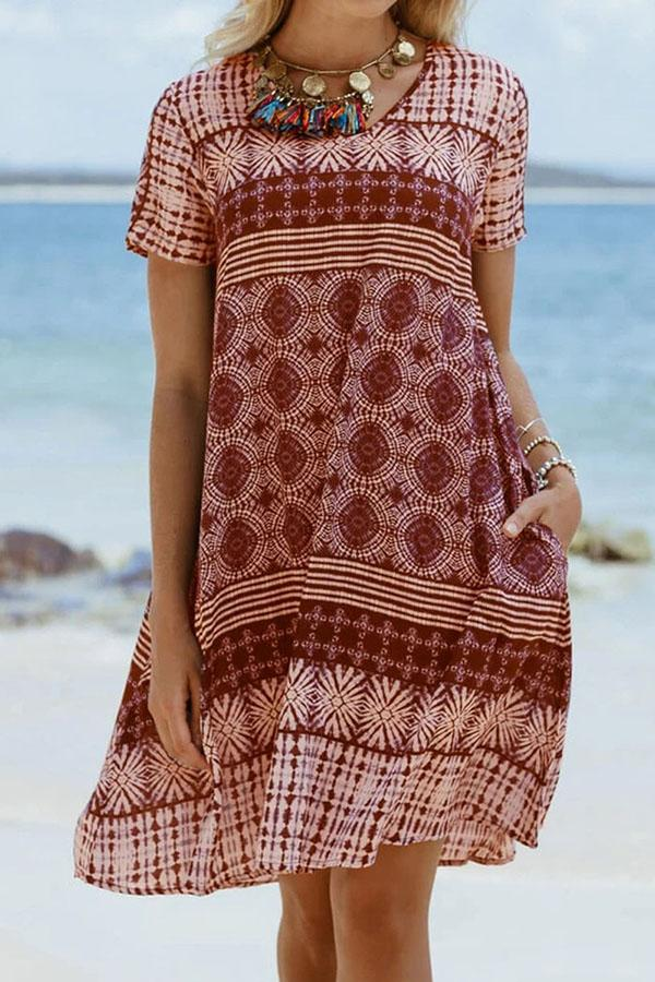 Print Vintage Crew Neck Short Sleeves Midi Dress
