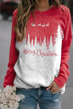 Merry Christmas Color-block Treetop Santa Claus Riding Deer Print Sweatshirt