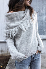 Tassel Pile Neck Knitted Ribbed Solid Holiday Sweater