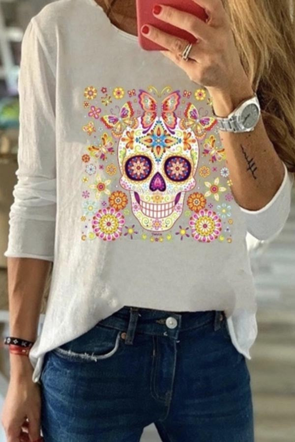 Skull Butterfly Floral Print Casual Long Sleeves T-shirt