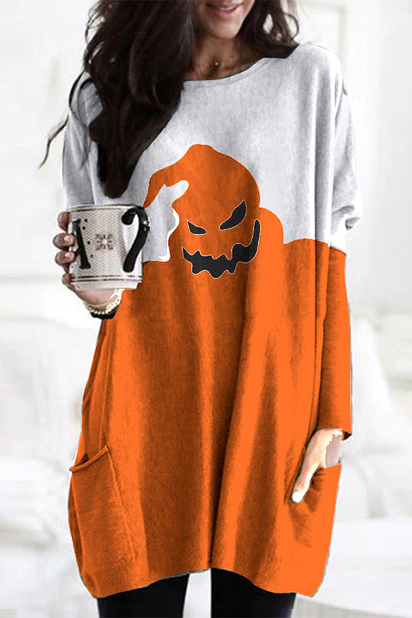 Halloween Color-block Devil Smile Face Print Paneled T-shirt