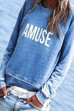 Casual Letter Print Paneled Crew Neck Sweatshirt