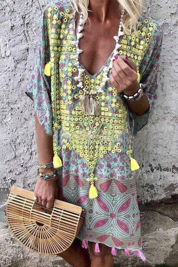 Boho Shift Print Tassel V Neck Loose Midi Dress