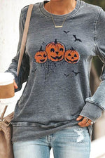 Halloween Pumpkin Spider Bat Print Paneled Party T-shirt