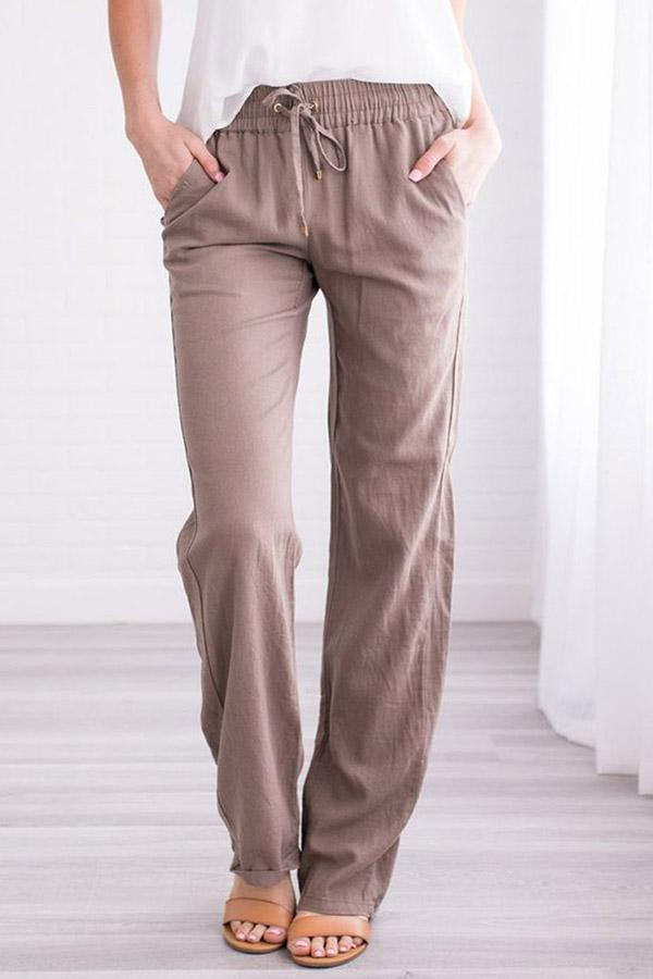Cotton Solid Casual Pockets Pants