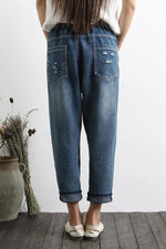 Loose Floral Embroidery Pockets Jeans Pants