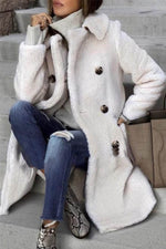 Fuzzy Solid Fall Winter Lapel Collar Elegant Buttons Down Coat