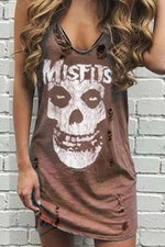 Ripped Hole Sleeveless Skull Letter Print Vests