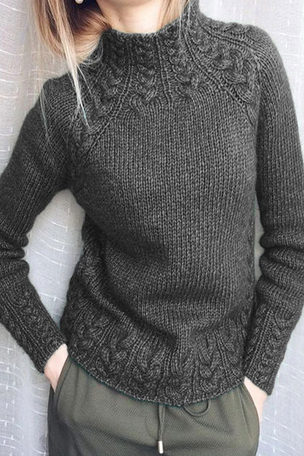 Solid Knitted Long Sleeves Sweater