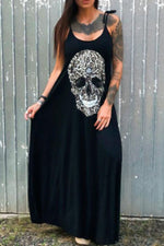 Skull Print Sling Tie Sleeveless Holiday Maxi Dress