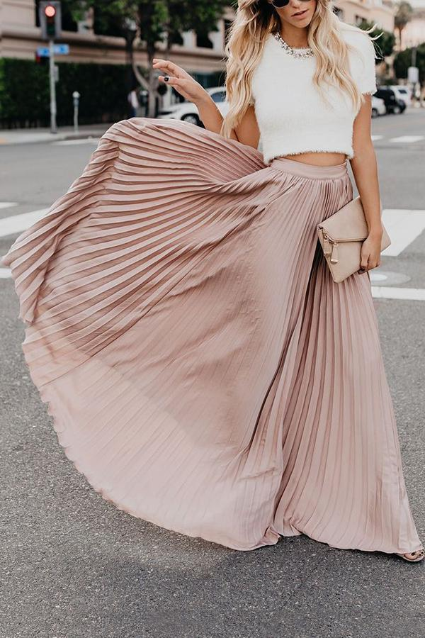 Solid Swing Pleated Casual Maxi Skirts