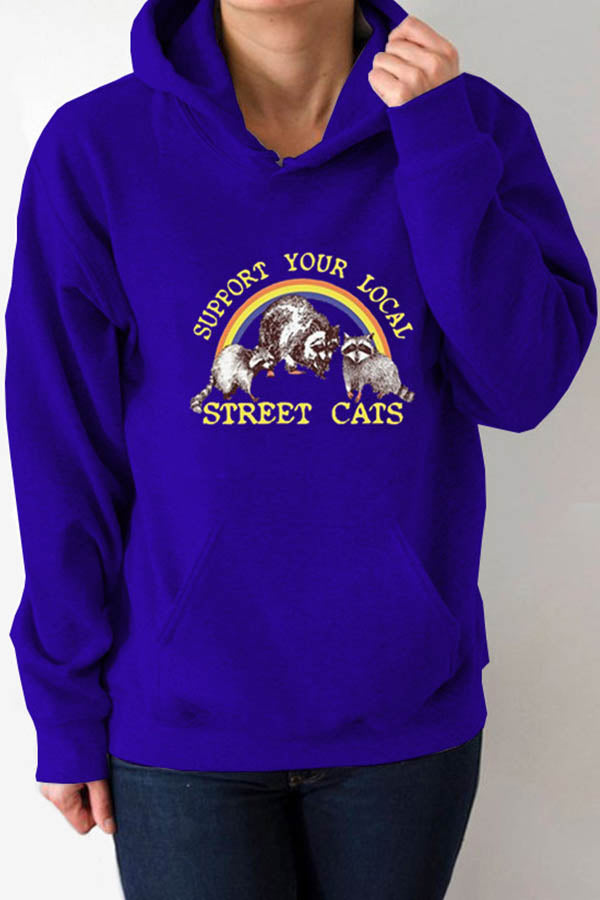 Support Your Local Street Cats Rainbow Raccoon Print Drawstring Casual Hoodie