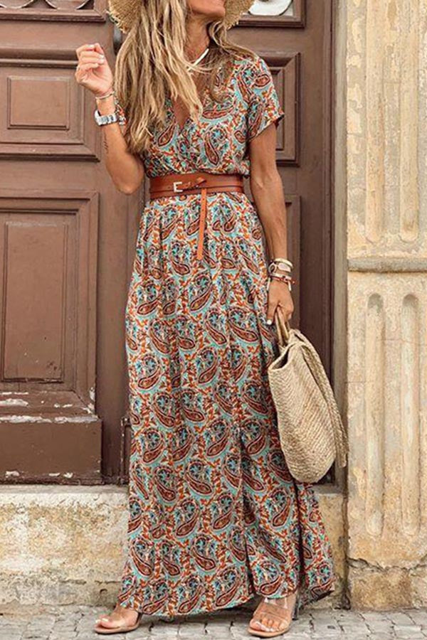 Bohemian Graphic Print V-neck Holiday Slit Maxi Dress