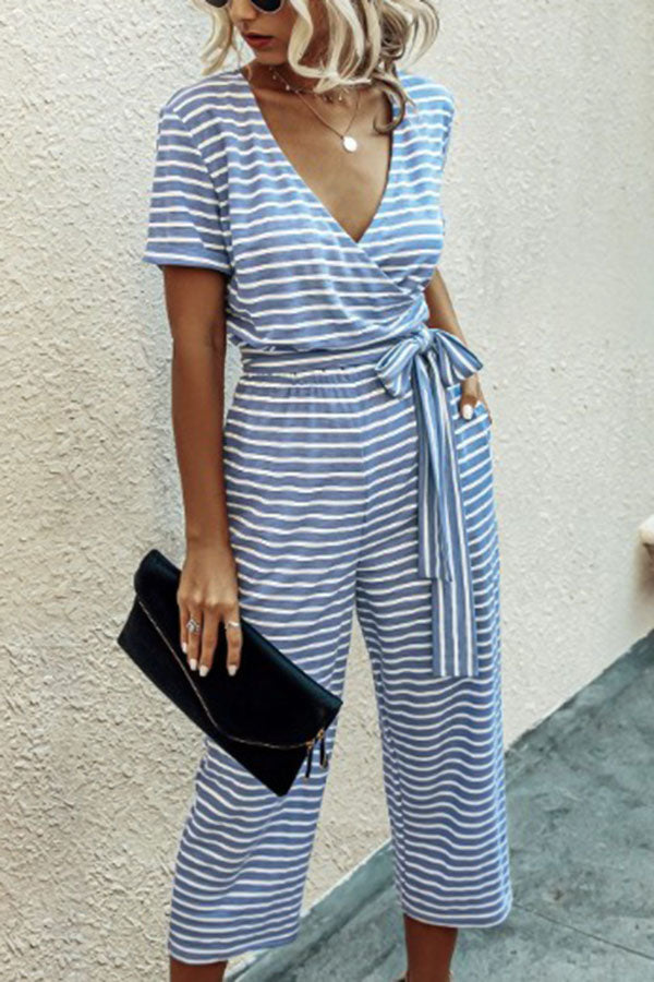 Striped Print Cross Front V-neck Self-tie Casual Jumpsuit