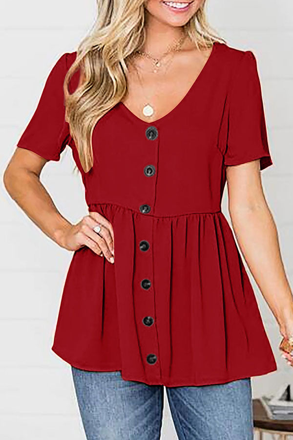 Solid Fold Paneled Buttoned V Neck Blouses