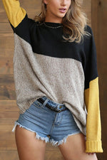 Three Colors Solid Color-block Casual Knitted Ribbed Sweater