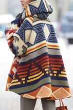 Gradient Colorful AZTEC Jacquard Fashion Horn Buckle Hooded Coat