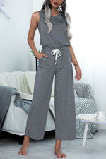 Solid Sleeveless Paneled Self-tie Casual Wide Leg Jumpsuit