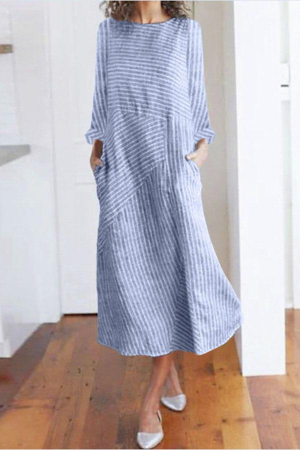Striped Side Pockets Long Sleeves Midi Dress