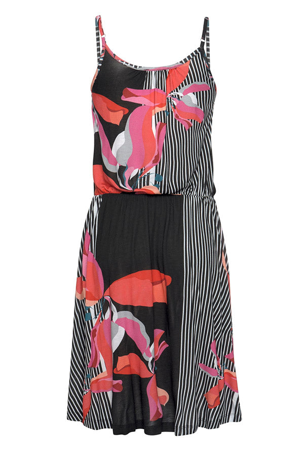 Paneled Striped Floral Print Pleated Sling Holiday Mini Dress
