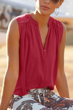 Paneled Solid V-neck Pleated Buttoned Rivets Sleeveless Blouse
