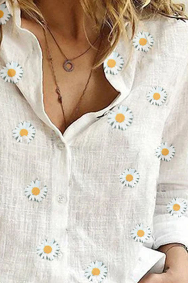 Casual Daisy Print Buttons Down Shirt Collar Blouse