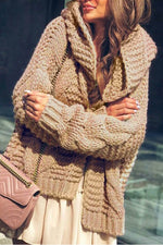 Knitted Solid Tweed Ribbed Hooded Holiday Casual Cardigan