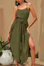 Holiday Solid Spaghetti Irregular Backless Wide Leg Jumpsuit