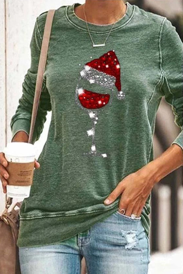 Christmas Hat On The Red Wine Glass Print Casual T-shirt