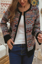 Mixed Colors Geometric Jacquard Fuzzy Trim Open Front Vintage Outerwear Cropped Coat