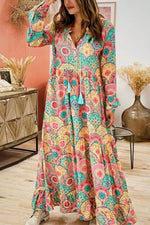 Bohemian Floral Print Paneled Drawstring Tassel V-neck Maxi Dress