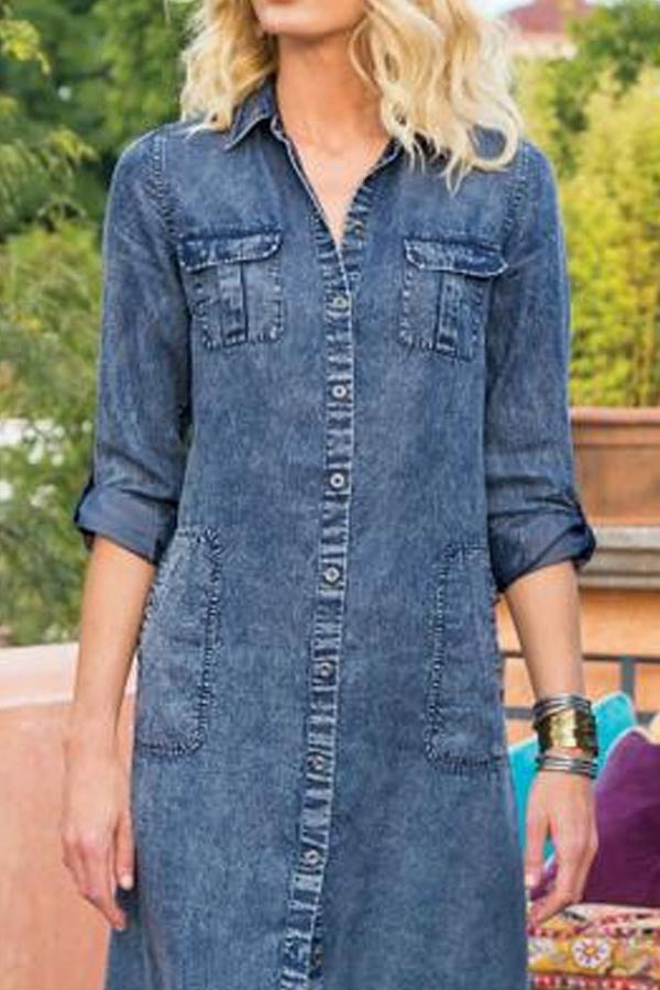 Casual Solid Buttons Down Pockets Paneled Denim Maxi Dress