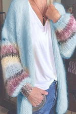 Striped Gradient Jacquard Knitted Ribbed Fuzzy Holiday Cardigan