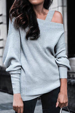 One Cold Shoulder Solid Paneled Elegant Knitted Sweatshirt