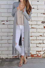 Long Sleeves Open Front Tassel Cardigans