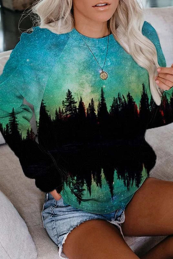 Reflection Landscape Gradient Starry Sky Forest Mountain Seabed Whale Jacquard T-shirt