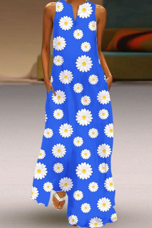 Daisy Print V-neck Sleeveless Holiday Maxi Dress