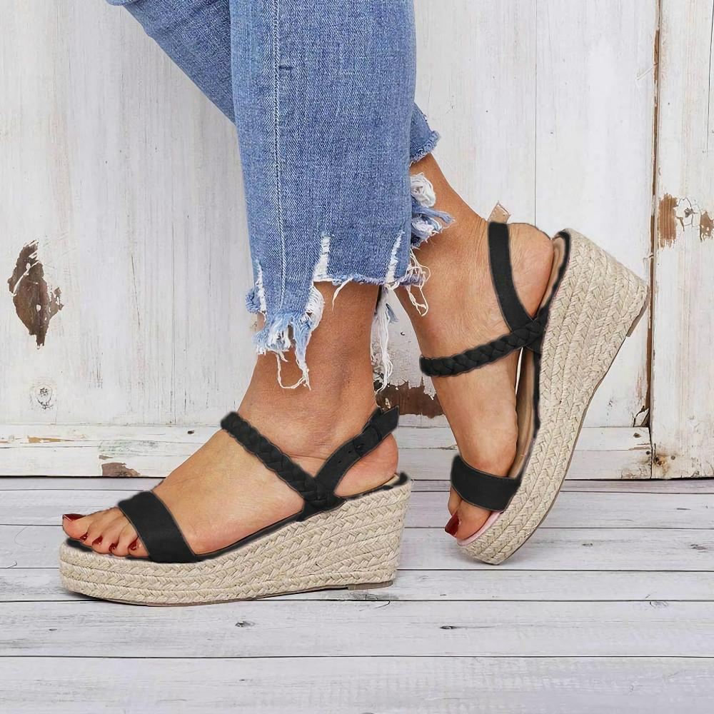 Wedge Heel Belt Buckle High Heel Sandals