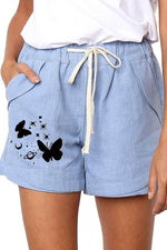 Casual Butterfly Print Self-tie Paneled Pockets Pants