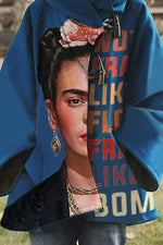 Frida Kahlo Letter Print Oil Painting Horn Buckles Hooded Coat
