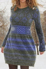Holiday Tweed Striped Jacquard Knitted Sweater Dress